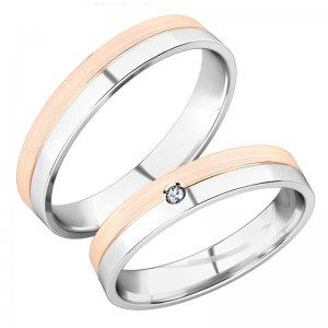 Snubní prsteny z bílého a růžového zlata SP-288-BR