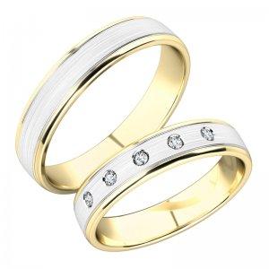Snubní prsteny ze žlutého a bílého zlata SP-251-ZB