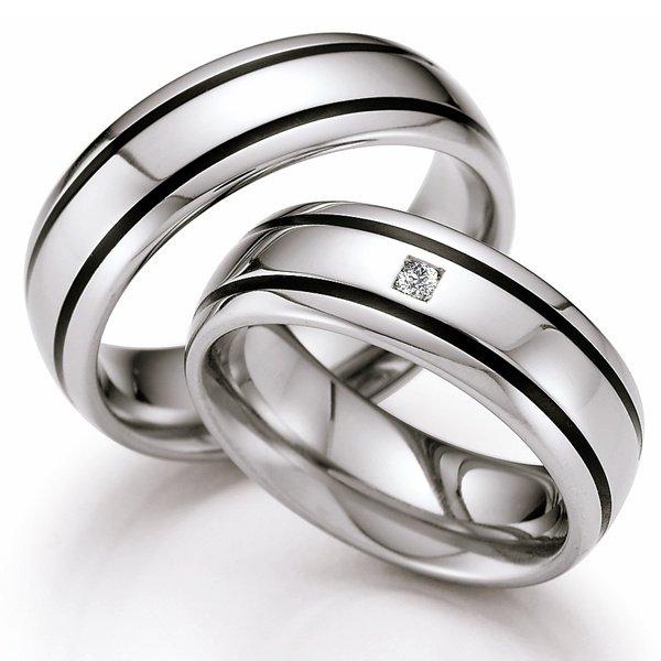 Snubní prsteny z oceli s keramikou a diamantem ST143