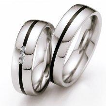 Snubní prsteny z oceli s keramikou a diamanty ST141