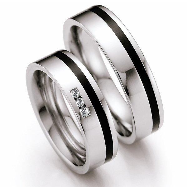 Snubní prsteny z oceli s keramikou a diamanty ST142