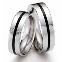 Snubní prsteny z oceli s keramikou a diamanty ST140