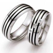 Snubní prsteny z oceli s keramikou a diamanty ST145