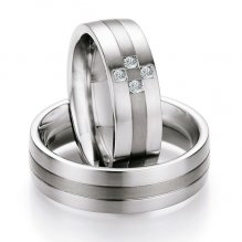 Snubní prsteny ocelové s titanem TS601