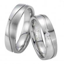 Snubní prsteny z oceli s diamanty ST20150