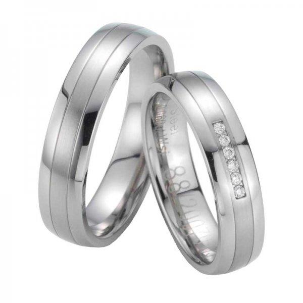 Snubní prsteny ocelové s diamanty ST20070
