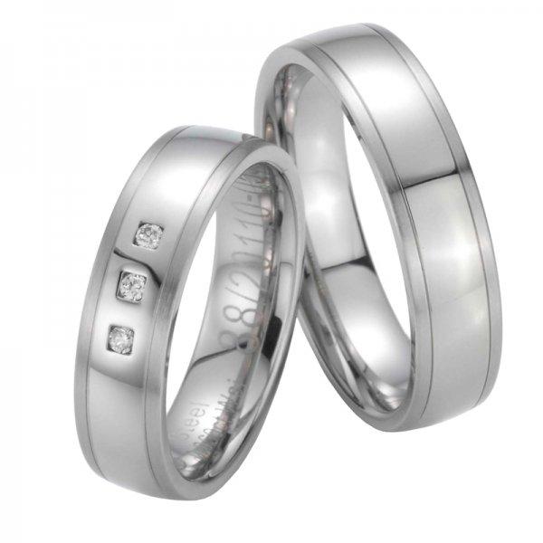 Snubní prsteny ocelové s diamanty ST20110