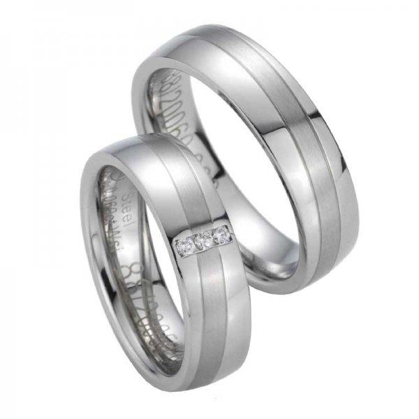 Snubní prsteny z oceli s diamanty ST20050