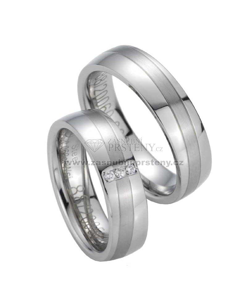 Snubni Prsteny Z Oceli S Diamanty St20050 Zasnubni Prsteny Cz
