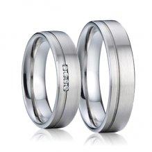 SP-7010 Snubní prsteny ocel se zirkony SP-7010
