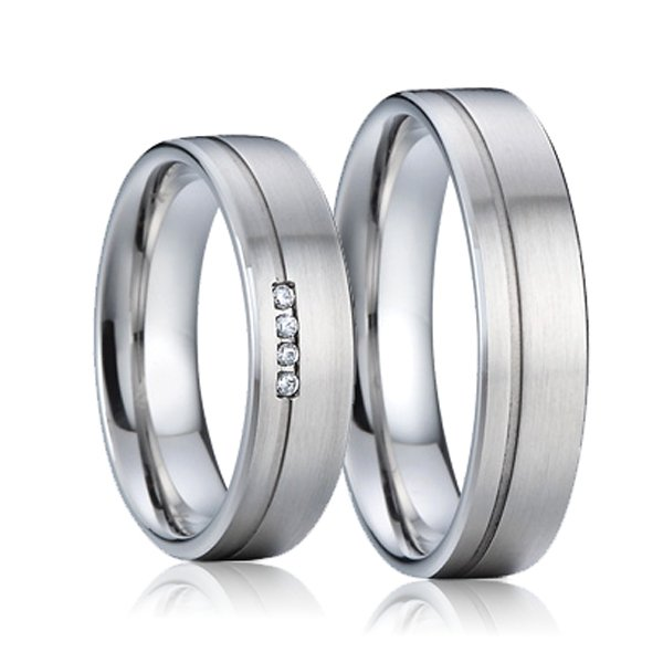 Snubní prsteny ocel se zirkony SP-7010