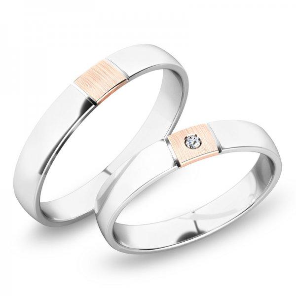Snubní prsteny z bílého zlata SP-248B