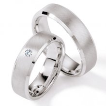 Stříbrné snubní prsteny s diamantem S117
