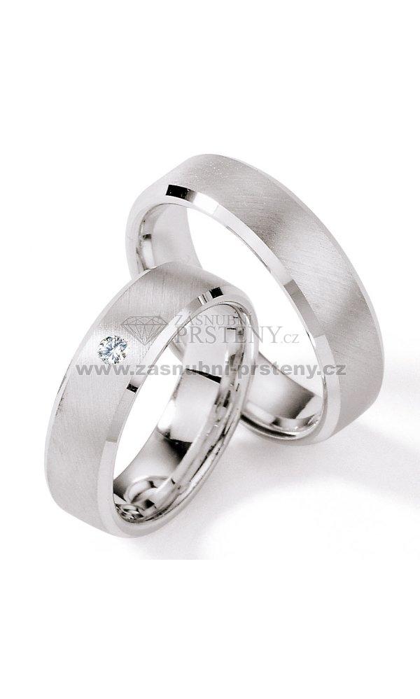 f376044ae Stříbrné snubní prsteny s diamantem S117 : Zasnubni-prsteny.cz