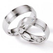 Stříbrné snubní prsteny s diamantem S120