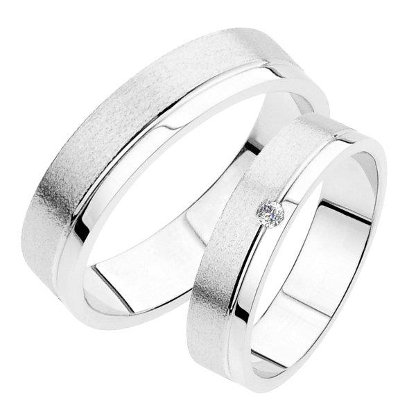 Snubní prsteny bílé zlato SP-233