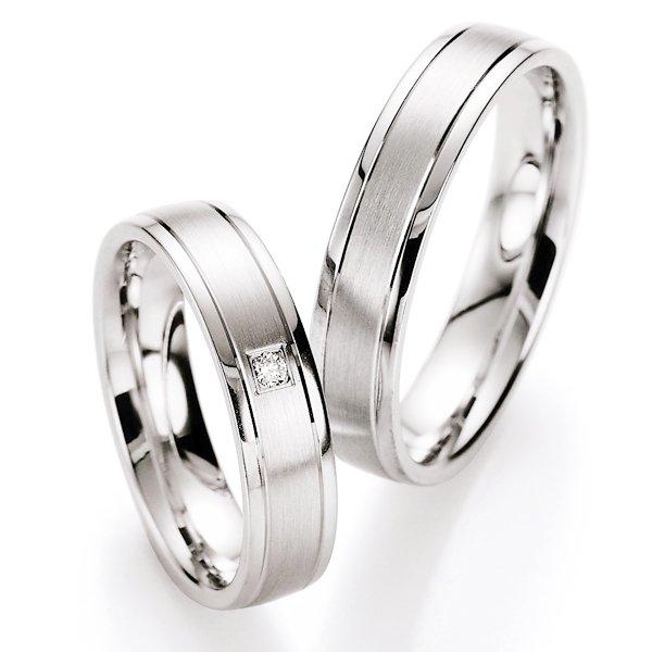 Snubní prsteny stříbrné s diamantem S10030