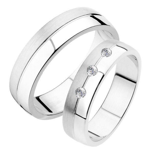Snubní prsteny z bílého zlata SP-236