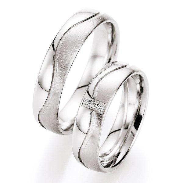 Snubní prsteny stříbrné s diamantem S10010
