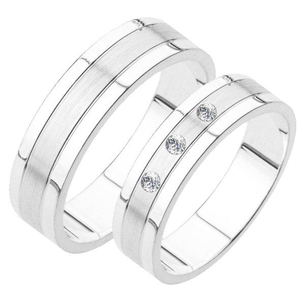 Snubní prsteny z bílého zlata SP-231