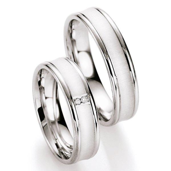 Snubní prsteny stříbrné s diamantem S10170