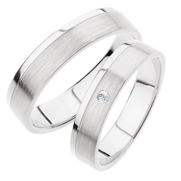Snubní prsteny z bílého zlata SP-242B
