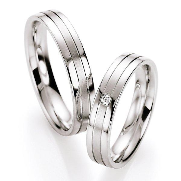 Snubní prsteny stříbrné s diamantem S10130
