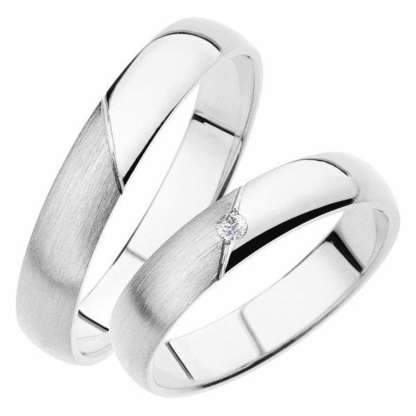 Snubní prsteny z bílého zlata SP-237B