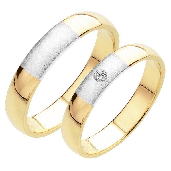 Snubní prsteny ze žlutého a bílého zlata SP-226