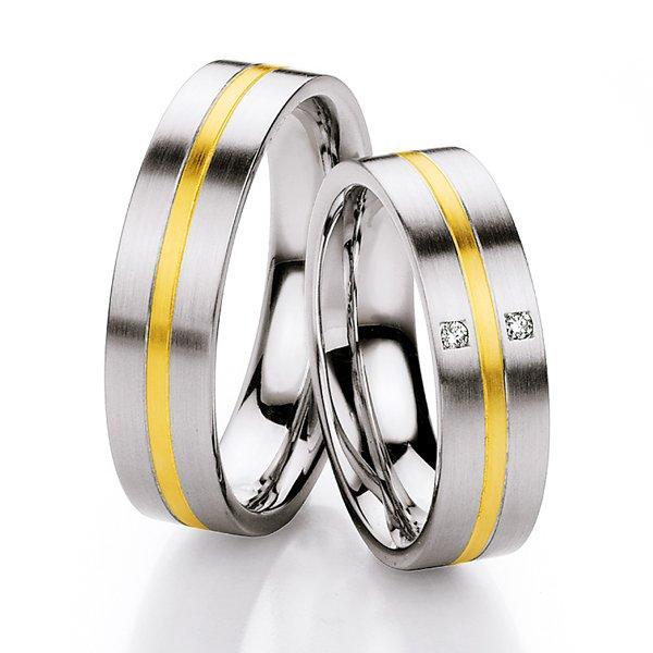 Ocelové snubní prsteny se zlatem a diamanty ST133