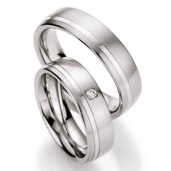 Ocelové snubní prsteny s diamantem ST123