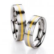 Ocelové snubní prsteny se zlatem a diamantem ST134