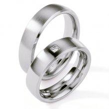 Ocelové snubní prsteny s diamantem ST124