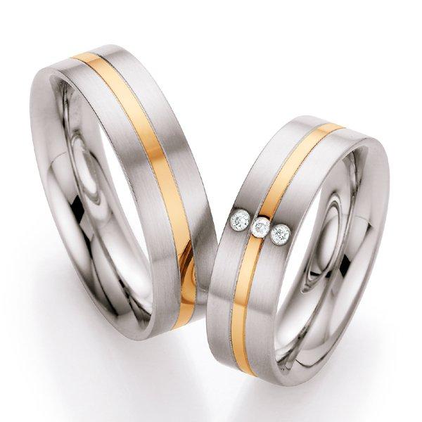 Snubní prsteny z oceli se zlatem a diamanty ST138