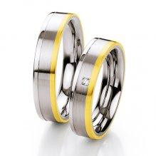 Snubní prsteny z oceli se zlatem a diamantem ST136