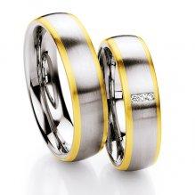 Ocelové snubní prsteny se zlatem a diamanty ST131